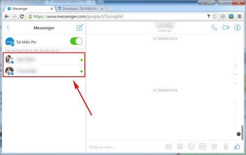Xem bạn bè online bằng Facebook Messenger trên máy tính