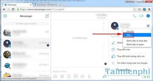 Xóa tin nhắn Facebook Messenger trên máy tính
