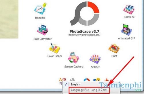Đổi ngôn ngữ trong PhotoScape