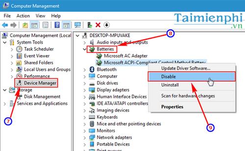 Sửa lỗi không hiển thị biểu tượng pin trên Windows 10 7