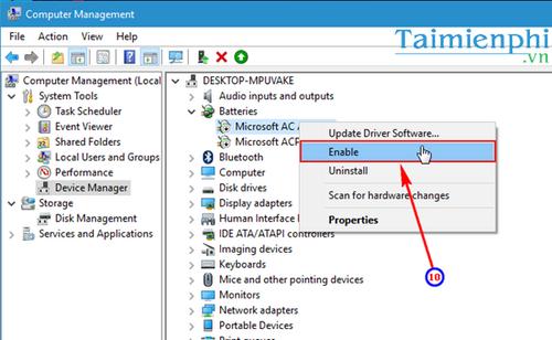Sửa lỗi không hiển thị biểu tượng pin trên Windows 10 8
