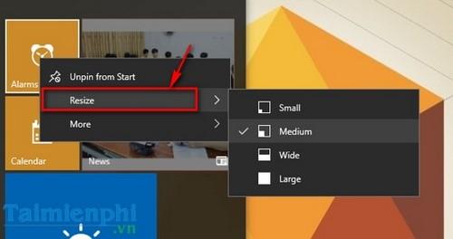 Tùy chỉnh Start Menu, Tùy biến giao diện Start Menu trên Windows 10 6
