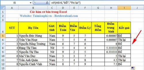 Hàm cơ bản trong Excel và ví dụ 2