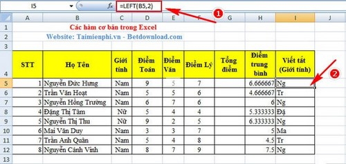 ham left ham co ban trong excel