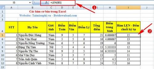 Hàm cơ bản trong Excel và ví dụ 12