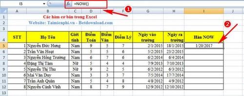 Hàm cơ bản trong Excel và ví dụ 13