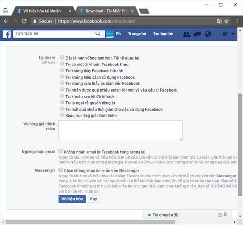 xoa nick facebook