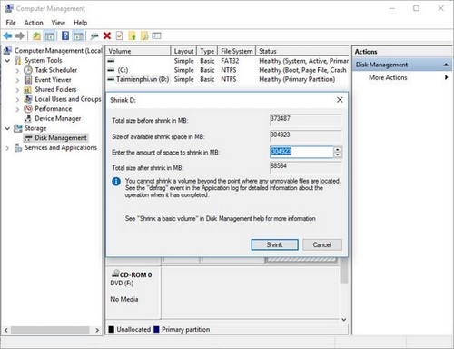 Cách chia ổ cứng Windows 10 không dùng phần mềm 4