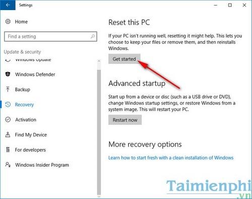 Reset Windows, thiết lập Win về trạng thái ban đầu 3