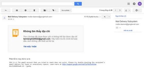 gmail khong gui duoc tin nhan