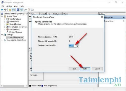 Cách chia ổ cứng Windows 10 không dùng phần mềm 6