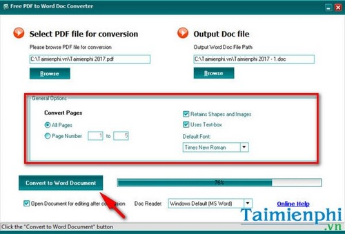thay doi thu muc luu file trong free pdf to word doc converter