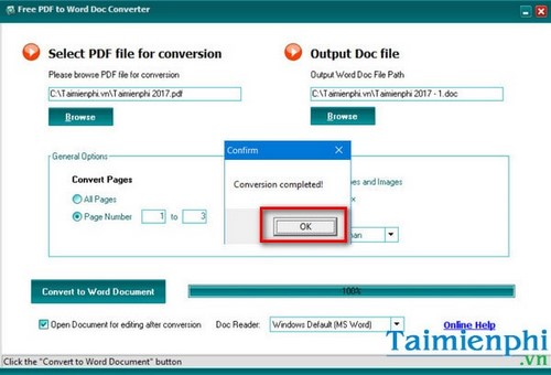 cach thay doi thu muc luu file trong free pdf to word doc converter