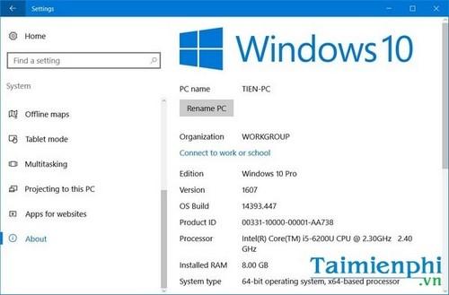 Kiểm tra cấu hình máy tính win 10, check cấu hình máy tính win 10 16