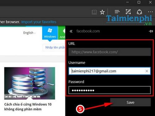 Tìm mật khẩu, password đã lưu trên Microsoft Edge trong Windows 10