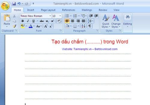 Cách tạo dòng chấm, tab (..........) trong Word 2010, 2016, 2013, 2007, 2003 11