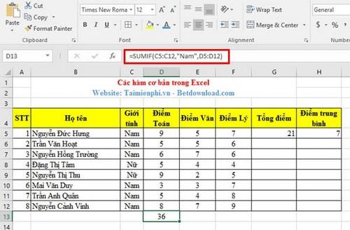 Hàm cơ bản trong Excel và ví dụ 14