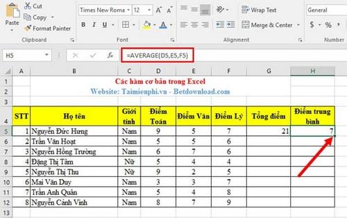 Hàm cơ bản trong Excel và ví dụ 7