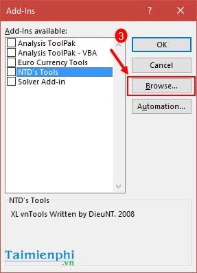 Cách đổi số thành chữ trong bảng tính Excel bằng VnTools 2010, 2013, 2007, 2003, 2016  10
