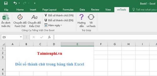 Cách đổi số thành chữ trong bảng tính Excel bằng VnTools 2010, 2013, 2007, 2003, 2016  13