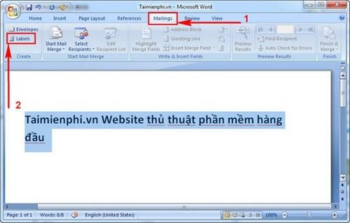 tao label nhan thu Word 2007