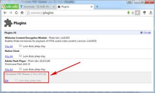 Mẹo tắt tính năng tự xem file pdf trên Cốc Cốc