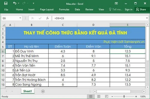 su dung paste trong excel