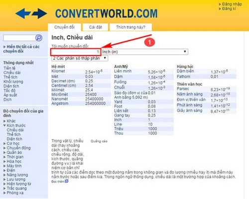 doi inch sang cm online