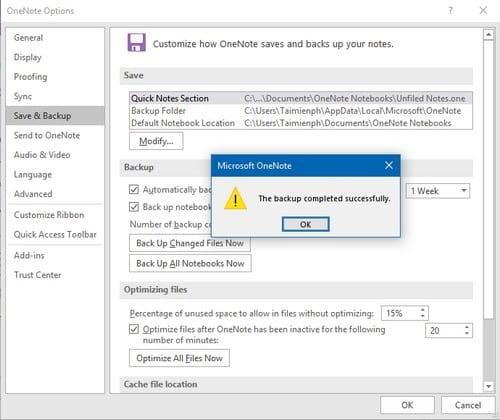 Sửa lỗi không save được One Note vào khu vực sao lưu Local Backups