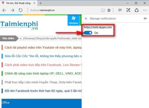Quản lý thông báo trang web trên trình duyệt Microsoft Edge
