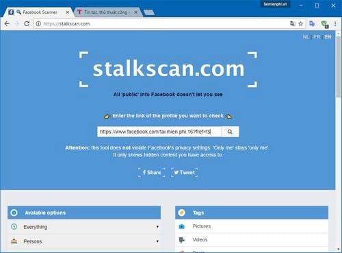 Tổng hợp thông tin người dùng Facebook với Stalk Face và Stalk Scan