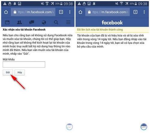 delete tai khoan facebook