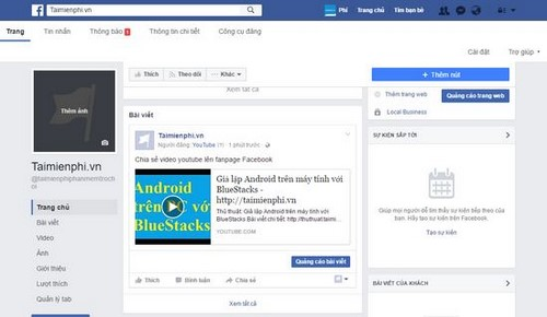 Chèn video YouTube vào Fanpage, xem youtube trên Fanpage Facebook