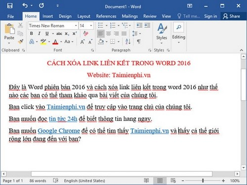 xoa toan bo link lien ket trong word 2016