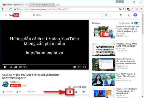 pause video youtube khi chuyen tab