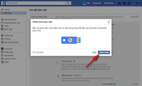 hướng dẫn cài đặt xác minh 2 bước Facebook bằng USB