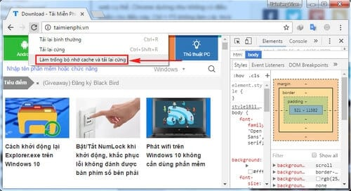 xoa cache cua website cu the tren google chrome 3
