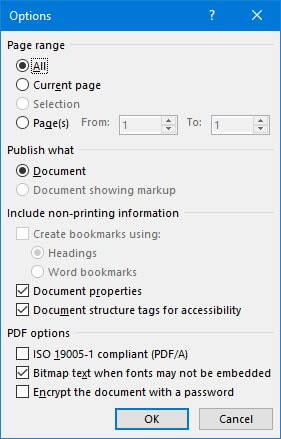 Converting word documents to pdf in word 2016