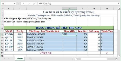 Tổng hợp các hàm xử lý chuỗi ký tự trong Excel, cú pháp và ví dụ 3