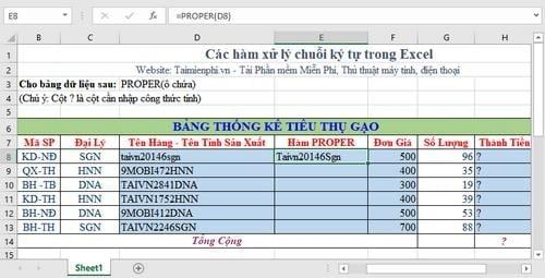 Tổng hợp các hàm xử lý chuỗi ký tự trong Excel, cú pháp và ví dụ 6