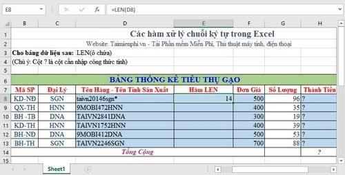 Tổng hợp các hàm xử lý chuỗi ký tự trong Excel, cú pháp và ví dụ 7