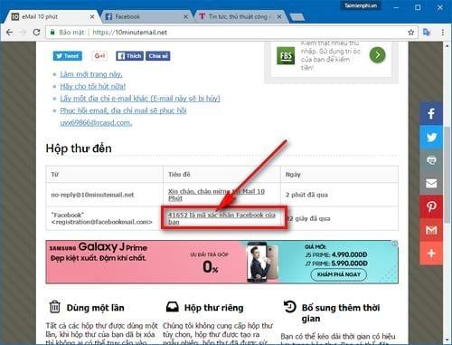 Cách đăng ký Facebook không cần email thực, dùng email ảo 5