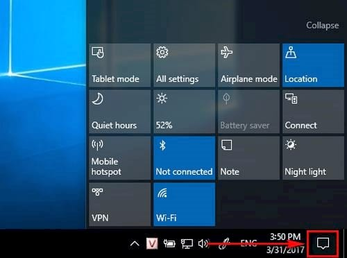 tuy bien cac nut quick action trong action center tren windows 10