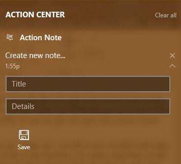 cach tao ghi chu tu action center trong windows 10 5