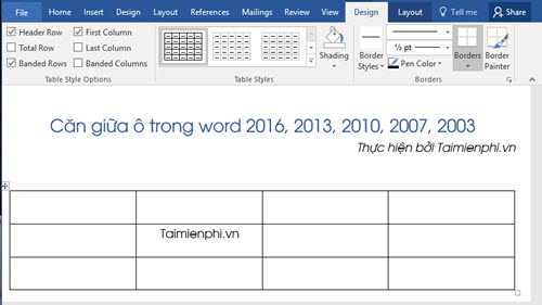 Căn giữa ô trong Word, Excel 5