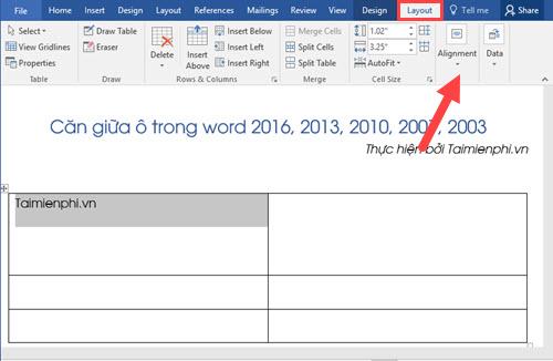 Căn giữa ô trong Word, Excel 6