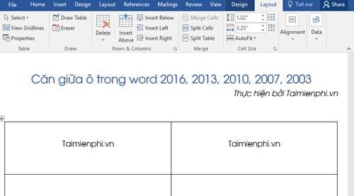 Căn giữa ô trong Word, Excel 8