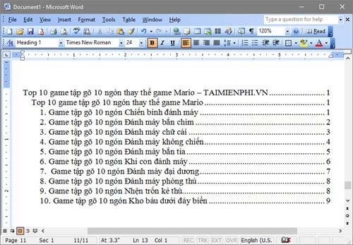 Cách tạo mục lục tự động trong Word 25