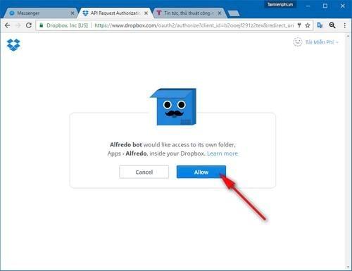 Tải file trực tiếp từ Facebook Messenger lên Dropbox trên máy tính