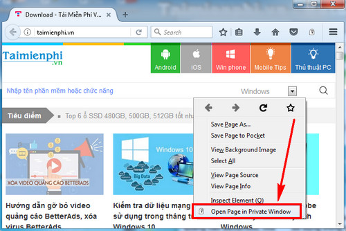 Chuyển trang hiện tại sang chế độ riêng tư trên Firefox